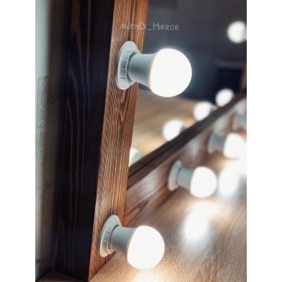 Гримерное зеркало с лампочками  JenDi 115х80 Орех