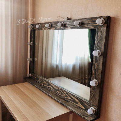 Гримерное зеркало с полкой  JenDi 140х90 Мореный Дуб