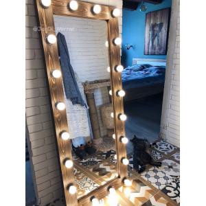 Гримерное зеркало с лампочками JenDi 160х65 Шоколад