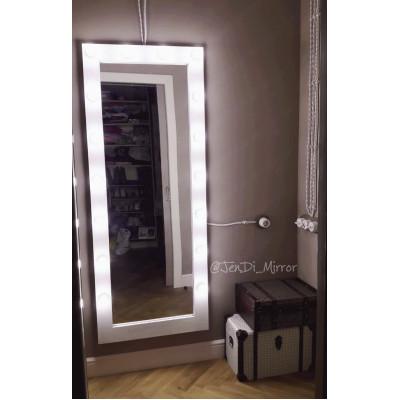 Гримерное зеркало с лампочками JenDi 175х70 белое