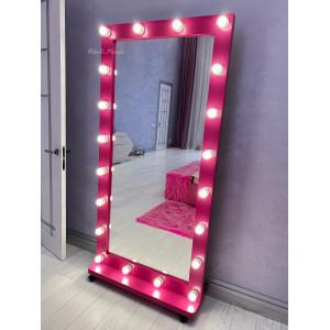 Гримерное зеркало с лампочками на подставке с колесами JenDi 180х100 см Маджента 2
