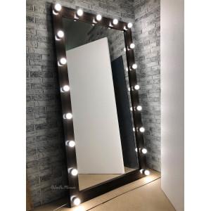 Гримерное зеркало с лампочками JenDi 190х100 Венге
