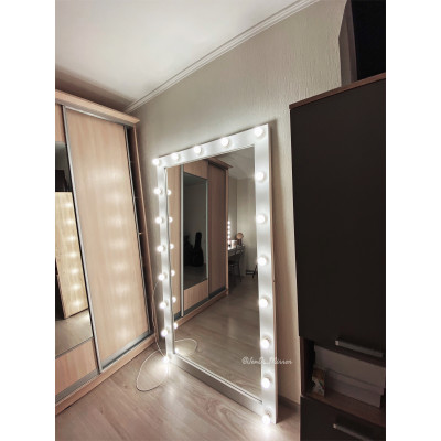 Гримерное зеркало с лампочками JenDi 200х100 White