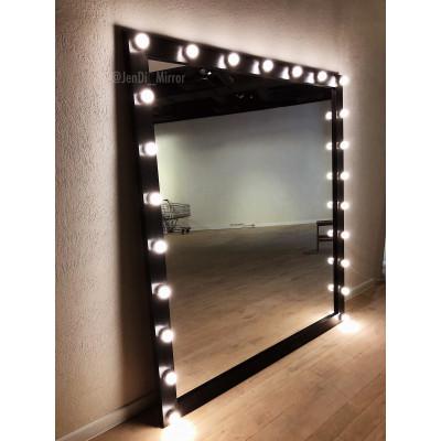 Гримерное зеркало с лампочками JenDi 200х180 Черное