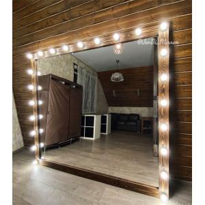 Гримерное зеркало с лампочками JenDi 200х180 Темный орех