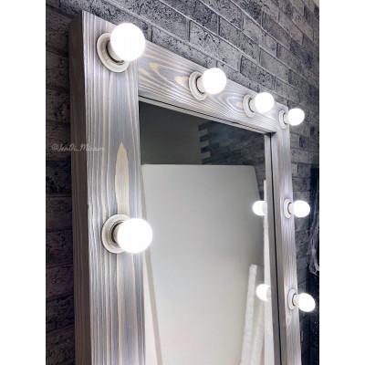 Гримерное зеркало с лампочками JenDi 200х70 Серо-голубое