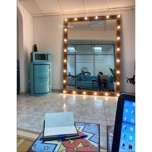 Гримерное зеркало с лампочками JenDi 210х150 Орех