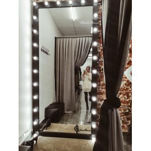 Гримерное зеркало с лампочками JenDi 255х120 см Черное