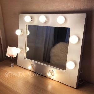 Гримерное зеркало с лампочками JenDi 45х55 White