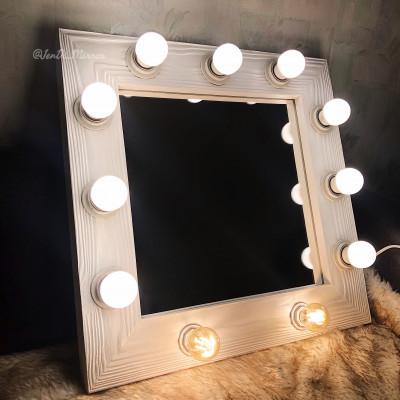 Гримерное зеркало с лампочками JenDi 50х50 White Loft