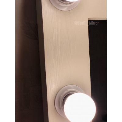 Гримерное зеркало с лампочками JenDi 60x70 Слоновая кость