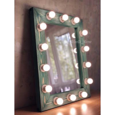 Гримерное зеркало с лампочками JenDi 60x75 Морская волна