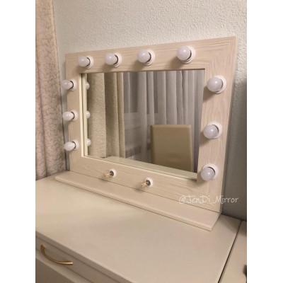 Гримерное зеркало с полкой JenDi 60х80 Слоновая кость