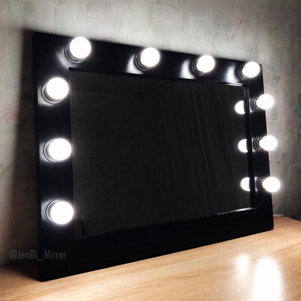 Гримерное зеркало с лампочками JenDi 60х80 черное