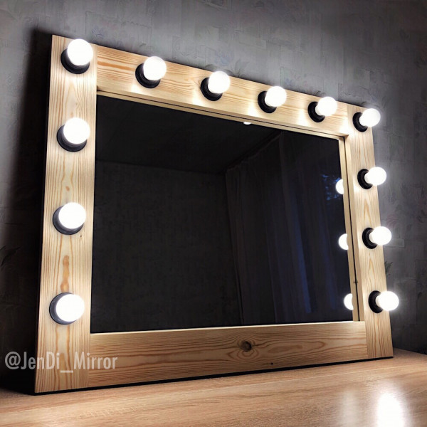 Гримерное зеркало с лампочками JenDi 70x90 Натуральное Дерево