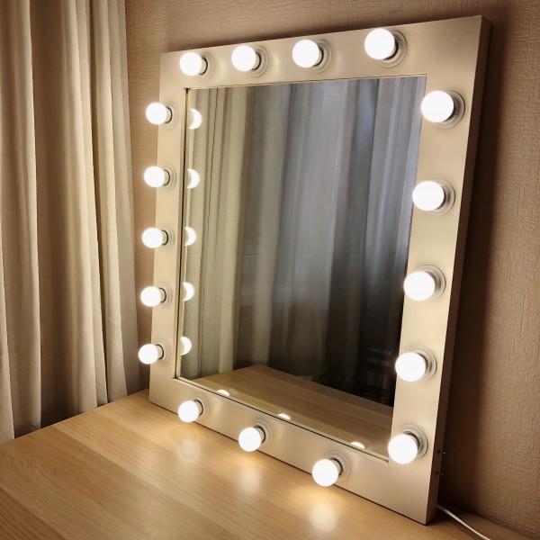 Гримерное зеркало с лампочками JenDi 75x85 Пудровое