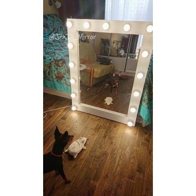 Гримерное зеркало с лампочками JenDi 80x100 White Loft