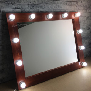 Гримерное зеркало с лампочками JenDi 100х80 Каштан