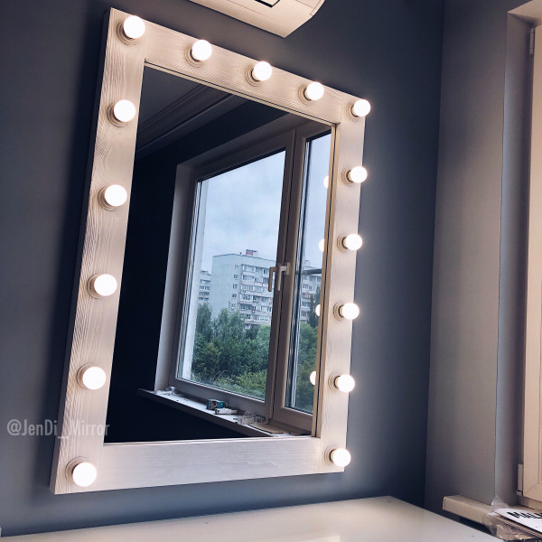 Гримерное зеркало с лампочками  JenDi 80х110 White Loft