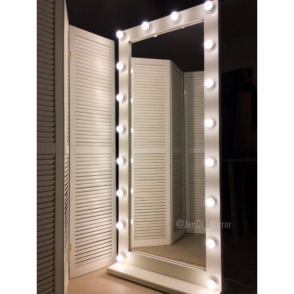 Гримерное зеркало с лампочками на подставке с колесами JenDi 180х80 см Слоновая кость