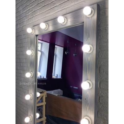 Гримерное зеркало с лампочками JenDi 180х80 Cеро-голубое (16 ламп)