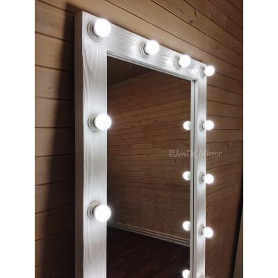 Гримерное зеркало с лампочками JenDi 180х80 см белое фактурное