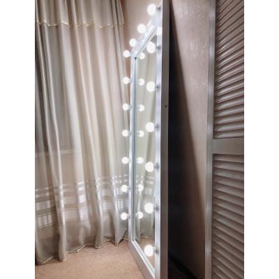 Гримерное зеркало с лампочками JenDi 180х80 см белое