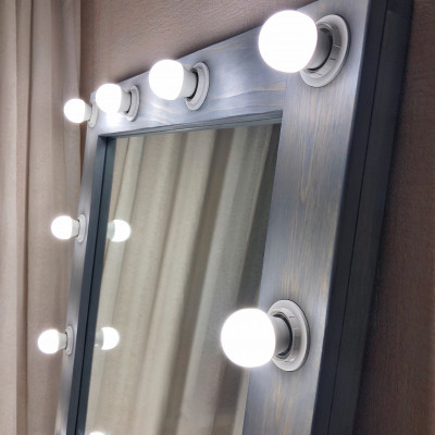 Гримерное зеркало с лампочками JenDi 180х80 Cеро-голубое