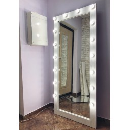 Гримерное зеркало с лампочками JenDi 180х80 белое с потертостями