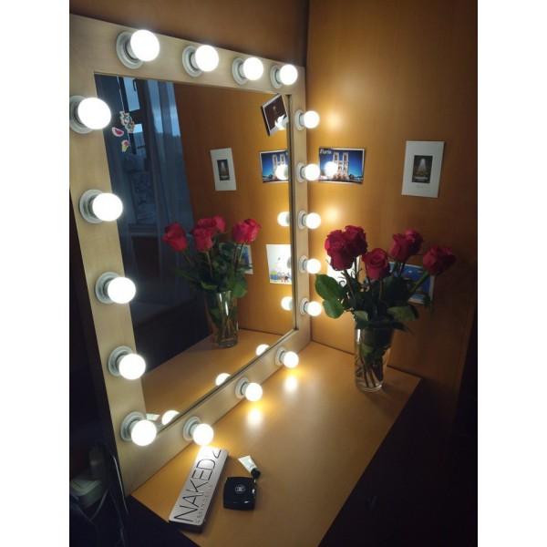 Гримерное зеркало с лампочками  JenDi 80х90 Coffee