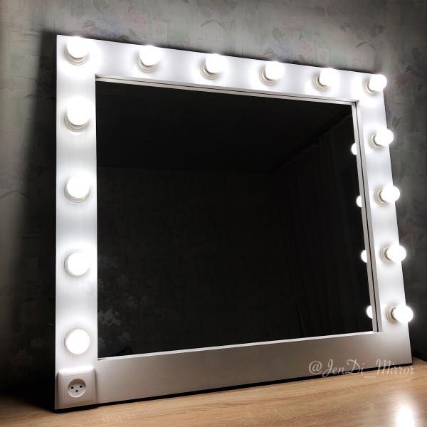 Гримерное зеркало с лампочками и розеткой JenDi 90x100 White
