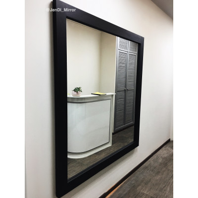 Большое зеркало в раме из дерева JenDi 160х150 Черное