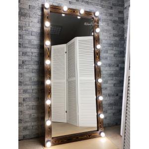 Гримерное зеркало с лампочками JenDi 180х80 Американо Лиственница