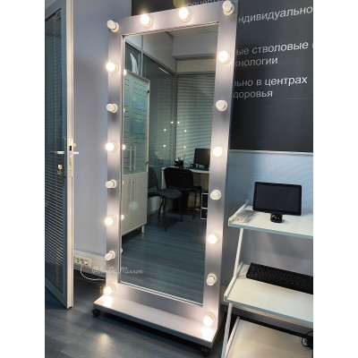 Гримерное зеркало с лампочками на подставке с колесами JenDi 180х80 Серое