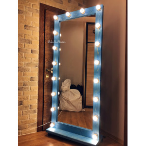 Гримерное зеркало с лампочками на подставке с колесами JenDi 180х80 Светло-синее