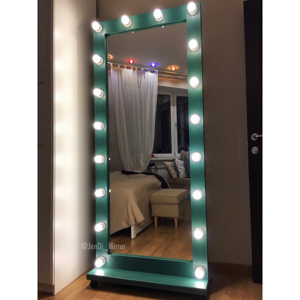 Гримерное зеркало с лампочками на подставке с колесами JenDi 180х80 Изумрудное