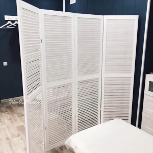 Ширма деревянная из четырех створок JenDi 200x180 Белая