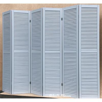 Ширма деревянная из шести створок JenDi 240х180 Серо-голубая