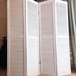 Ширма деревянная из четырех створок JenDi 160x180 Белая