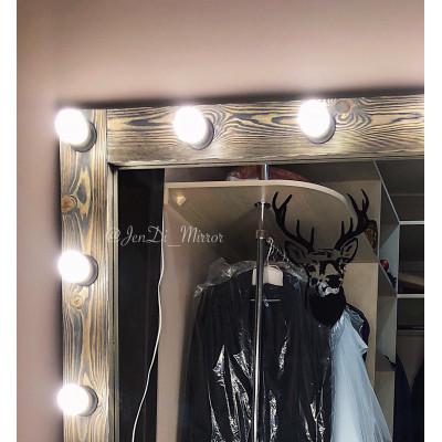 "Гримерное зеркало с рисунком ""Голова оленя"" JenDi 180х100 см Мореный дуб"
