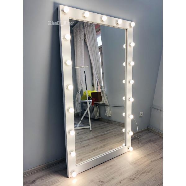 Гримерное зеркало с лампочками JenDi 180х100 см белое