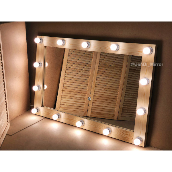 Гримерное зеркало с лампочками  JenDi 120х80 Натуральное дерево