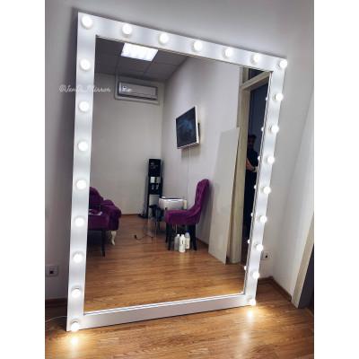 Гримерное зеркало с лампочками JenDi 190х140 Белое