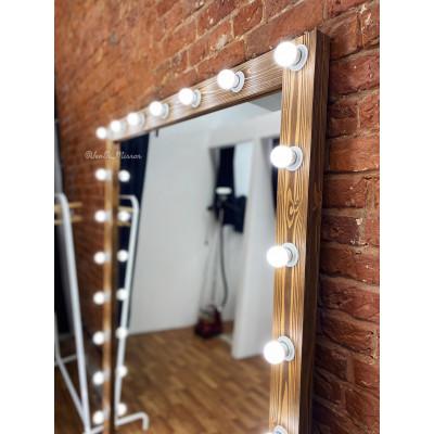 Гримерное зеркало с лампочками JenDi 190х140 Орех