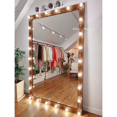 Гримерное зеркало с лампочками  JenDi 145х225 Орех