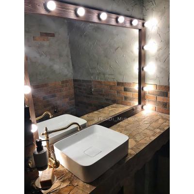 Гримерное зеркало с лампочками  JenDi 155х110 Шоколад
