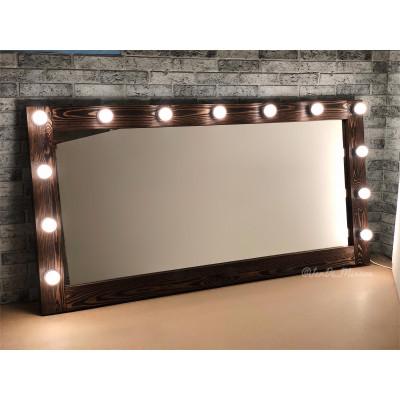 Гримерное зеркало с лампочками JenDi 160х80 Американо