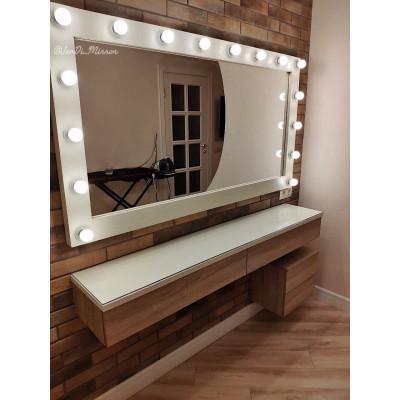 Гримерное зеркало с лампочками JenDi 160х90 см Слоновая кость