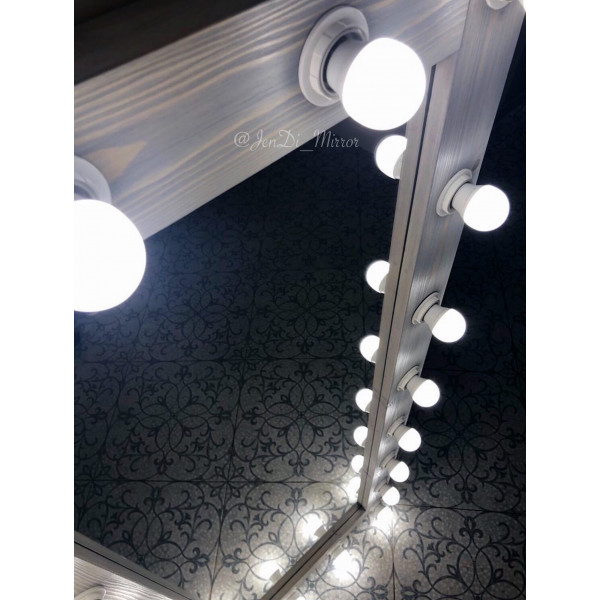 Гримерное зеркало с лампочками JenDi 165х65 Cеро-голубое