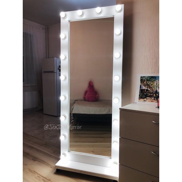 Гримерное зеркало с лампочками на подставке с колесами JenDi 170х70 см белое